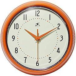 Retro 9 inch Silent Sweep Non-Ticking Mid Century Modern Kitchen Diner Wall Clock Quartz Movement Retro Wall Clock Decorative (Orange)