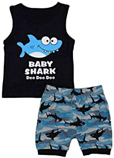 Toddler Baby Boy Sleeveless Shark Print Top Vest +Cartoon Shorts 2PCS Outfit Kids Clothes Set Sunsuit(Black,1-2Years)