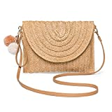 Straw Shoulder Bag, Kadell Straw Clutch, Casual Beach Handmade Crossbody Bag for Women, Envelope Purse Wallet, Light Brown