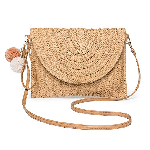 Straw Shoulder Bag, Kadell Handwoven Straw Purses and Handbags for Women Summer Beach Crossbody Bag for Vacation Envelope Clutch Wallet (Brown)
