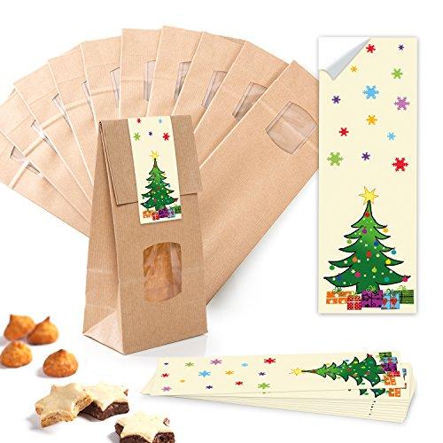 Lot de 10 petits sacs à fond marron avec fenêtre + insert en cristal 10 x 6,5 x 27,5 cm + 10 autocollants de Noël rouge vert jaune - Sacs en papier de qualité alimentaire