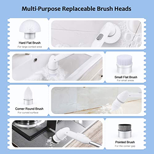 Upgraded Spin Scrubber, WiMiUS 360 Degrees Electric Spin Scubber with 4 Brush Replacement Heads Cordless Power Srubber Cleaning Brush for Bathroom Kitchen,Tub