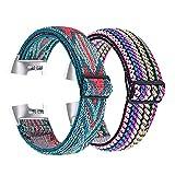 Paquete de 2 correas de reloj de nailon elásticas compatibles con Fitbit Charge 4 / Charge 3 Correa de pulsera de repuesto ajustable tejida (Rayas rosa púrpuras + flechas azules)