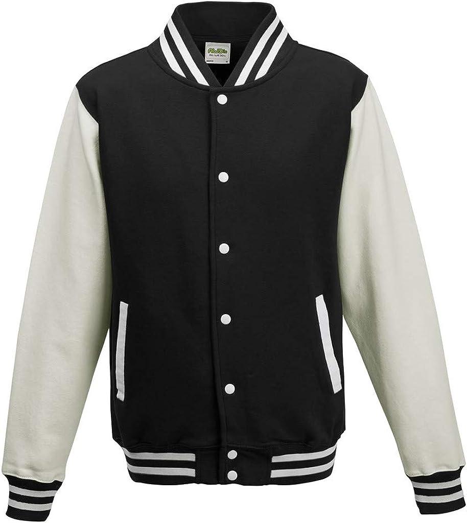 online Excellent shop Awdis Unisex Varsity Jacket White XXX-Large Black