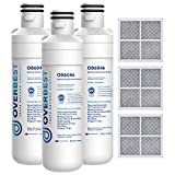 Overbest ADQ747935 Refrigerator Water Filter and Air Filter, Replacement for LT1000P, Kenmore Elite 9980, MDJ64844601, ADQ74793501, LMXS28626S, LFXS26973S, LMXS30796S, LMXC23796S and LT120F, 3 Combo