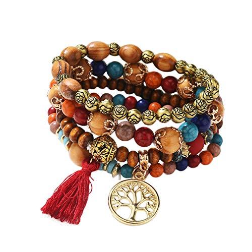 YAZILIND Tree of Life Multilayer Stackable Bracelets Strand Bangles Bohemian Stretch Beaded Bracelets Women Wristband(Red)