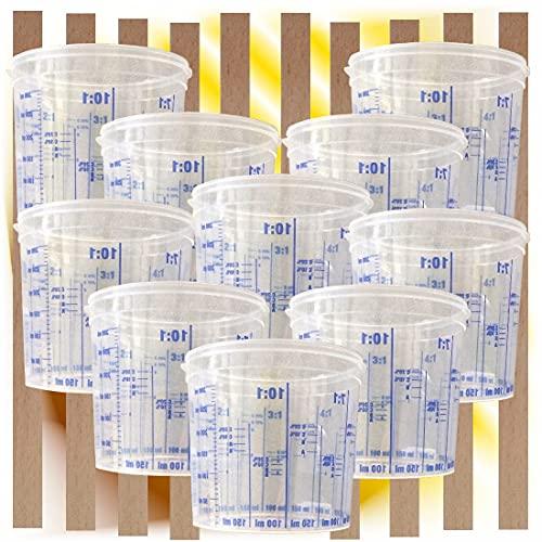 10 x Lackmischbecher 385 ml + 10 Rührhölzer im Set