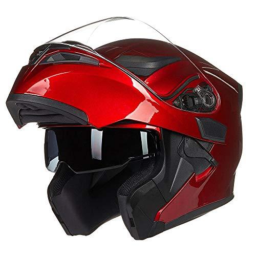 JieKai Helm für Motorräder Full-Face Motorcycle Helmet Tragbarer Integralhelme Flip-up Motorradhelm Zertifizierung von DOT (XXL, Rot)