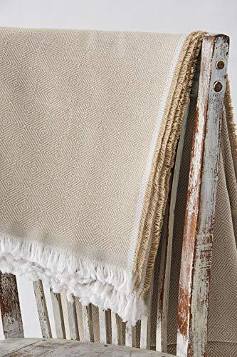 Textil-home Bettüberwurf, Mehrzweck/Plaid 180 x 285cm - Eignet Sich als Sofaüberwurf und auch als Tagesdecke. Farbe Beige