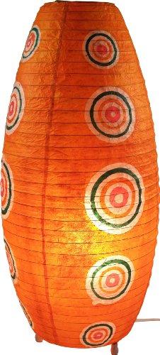 Guru-Shop Corona Reispapier Stehlampe Retro 60 cm, Orange, Lokta-Papier, Farbe: Orange, Papierlampenschirme Oval