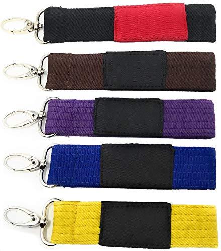 Hutz Sports - Brazilian Jiu Jitsu Belt Keychain. A Creative Key Chain for BJJ Fighters. Lanyard Keychain for Martial Arts. Great Gift! (Black)