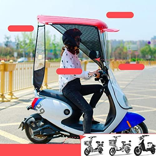 LOJALS Cubierta De La Sombrilla De La Motocicleta Eléctrica Universal, La Cubierta La Cubierta del Paraguas del Toldo del Coche De La Batería, La Visera Solar,Rojo