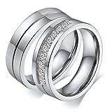 Aeici Frau Silber Beschriftungsring Edelstahl Versprechen Hochzeits Bänder Cz Größe 49 (15.6)