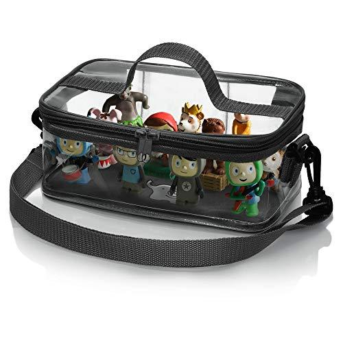 Hörfiguren-Tasche mit Magnetboden | Transparente Tonies-Tasche für bis zu 30 Tonies | Abnehmbarer, Verstellbarer Schultergurt und Tragegriff (elefantengrau)