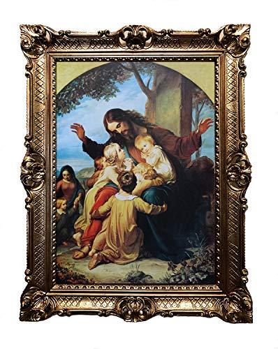 Barmherzige Jesus mit Kindern Antik Barock Rahmen Barockrahmen mit Bild Wandbild 70x90cm Kunstdrucke...