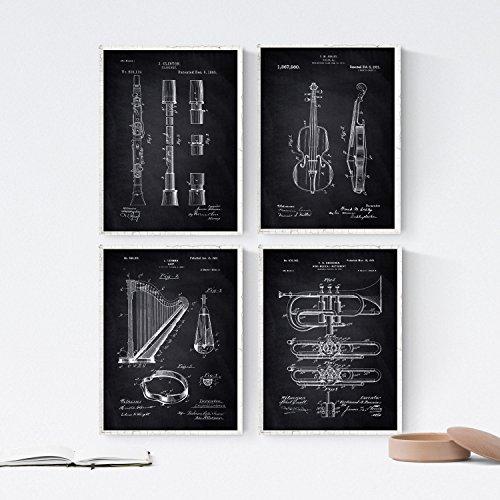 ZWART - pak van 4 vellen met muziekinstrumenten met patenten. Maak posters met uitvindingen en oude patenten. Kies de gewenste kleur. Gedrukt op hoge kwaliteit 250 gram. Nacnic