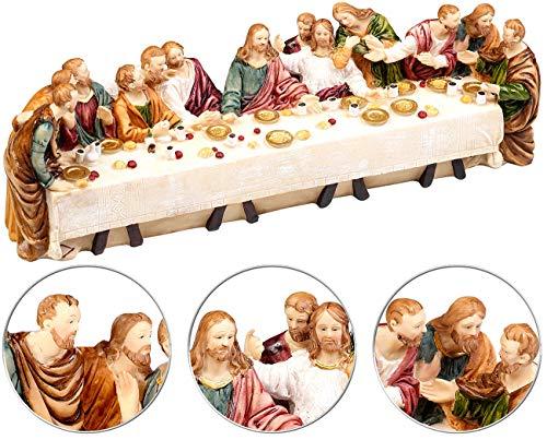 PEARL Polyresin Figuren Weihnachten: Deko-Abendmahlszene aus Polyresin, mit 13 handbemalten Figuren (Weihnachtsdeko)