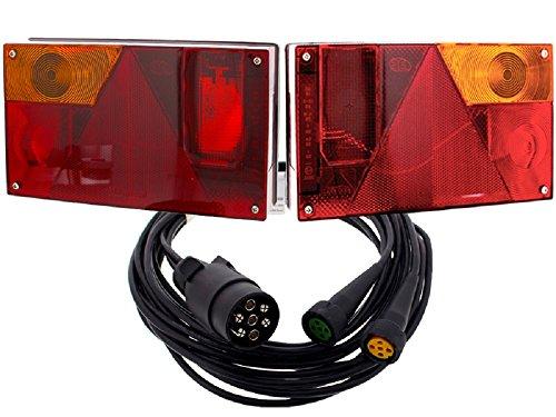 FKAnhängerteile Multipoint 1 I Jeu de The Drive droite + gauche Feux arrière + Câble de raccordement 5 m 7 broches.
