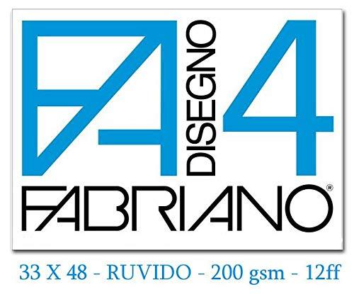 Fabriano F4 05000797, Album da Disegno, Formato 33 x 48 cm, Fogli Ruvidi, Grammatura 200gr/m2, 20 Fogli