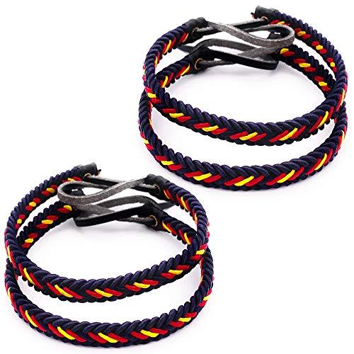 MovilCom® Pack de 4 Pulseras Pulsera de Cuero e Hilo Trenzada Colores Bandera ESPAÑA 4 Unidades Color Azul Marino