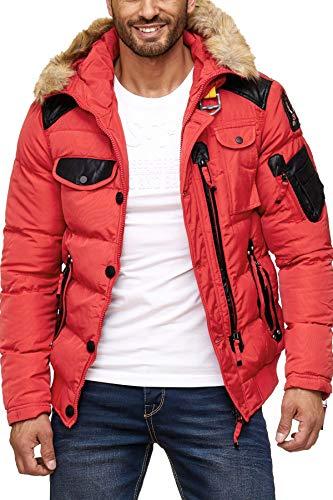 Cipo & Baxx Herren Steppjacke Winterjacke Jacke Kapuzenjacke Parka Mantel Winter Jacke Rot L