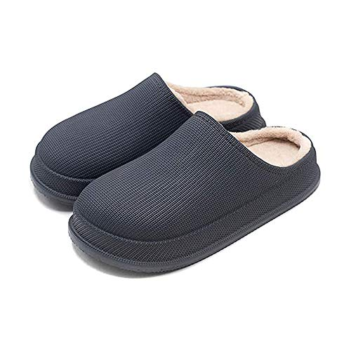 Mens Waterproof Slippers Warm Fur Lined House Slippers Lightweight Winter Indoor Outdoor Non-Slip House Home Slip on Garden Shoes Men Women (Dark Gray, 42-43,27cm)