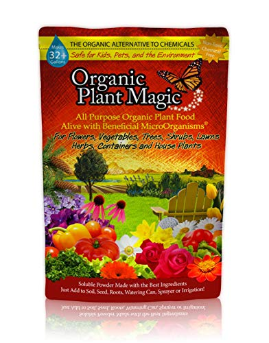 Plant Magic Premium All Purpose Organic Fertilizer Soluble Plant Food Concentrate for All Indoor & Outdoor Flower Vegetable Herb Fruit Tree Shrub Lawn Garden Container & House Plants - 1/2 lb, 1 Bag