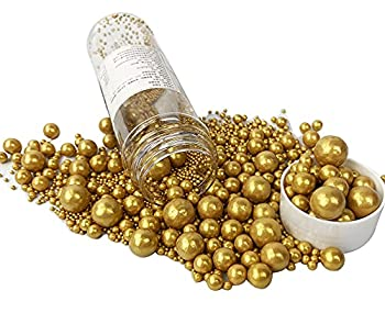 Edible Pearl Sugar Sprinkles Gold Candy 120g/ 4.2oz Mix Size Baking Edible Cake Decorations Cupcake Toppers Cookie Decorating Ice Cream Celebrations Shaker Jar Wedding Shower Party Chirstmas