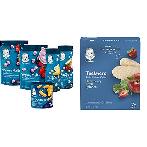 Gerber Up Age Snacks Variety Pack - Puffs, Yogurt Melts & Lil Crunchies, 9Count & Teethers Gentle Teething Wafers - Strawberry Apple Spinach, 6 Count