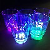 Uonlytech Set di 4 Bicchieri di Vino a LED Bicchieri di Acqua Illuminati Bicchieri di plastica a LED Luminosi per la Festa di Compleanno di Compleanno di Bar Ristorante
