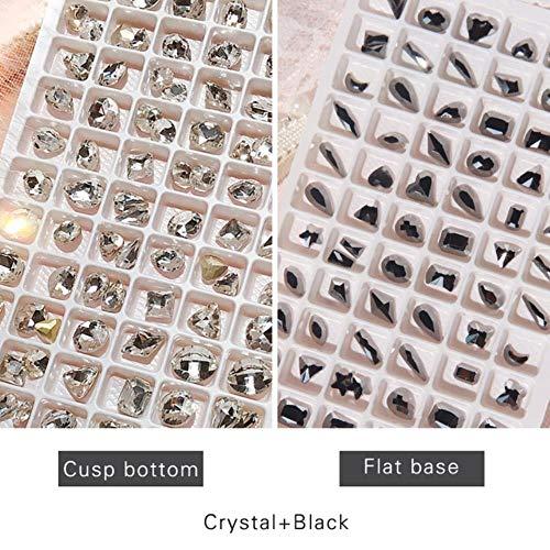 Lot de 100 vernis à ongles en forme de strass à fond plat à dos plat pour décoration en verre et cristal Noir