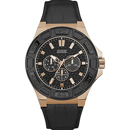 Guess Herren Chronograph Quarz Uhr mit Leder Armband W0674G6