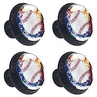 ドレッサーノブハードウェアラウンドノブ、取り付けネジ付きオフィスバスルームキッチンデコレーション用引き出しプル(4個)野球ボール