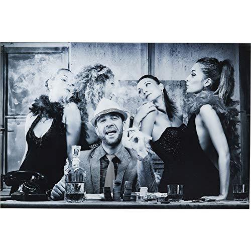Kare Design Bild Glas Macho Man 100x150cm, Rechteckiges Glasbild in Schwarz Weiß, Bild ohne Bilderrahmen mit Personen Motiv,  (H/B/T) 100x150x4cm