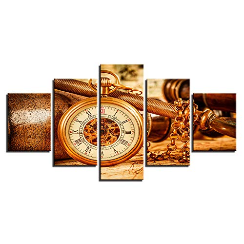 Canvas Pictures Home Decor HD Prints 5 Pieces Vintage Spacial Watch Paintings...