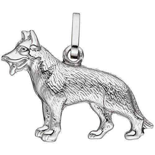 Anhänger Kettenanhänger Hund Schäferhund aus echtem 925 Silber 3D-geformt Unisex