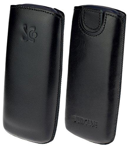 Suncase Original Leder Etui kompatibel mit Nokia 3310 (2017) Tasche Handytasche Ledertasche Schutzhülle Hülle Hülle (mit Rückzuglasche) in schwarz