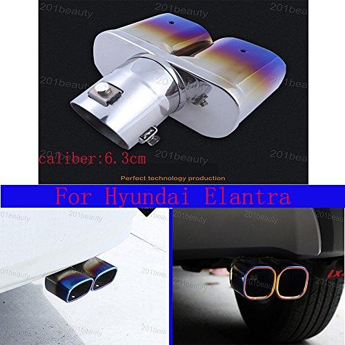 Neuf rond en acier inoxydable Chrome Queue de silencieux Tail Pipe moitié Bleu pour Elantra 2012 2013 2014 2015 2016 2017 2018