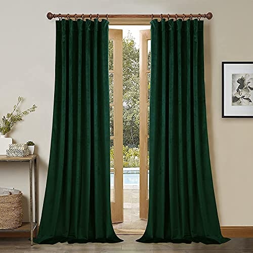 StangH Velvet Curtains 108 inches Long - Dark Green Bedroom Blackout Curtains Super Soft Home Decor Thermal Insulated Back Tab Window Curtain for Living Room, Dark Green, W52 x L108, 2 Panels