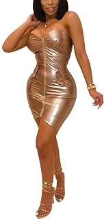 Womens Sexy Straplesss PU Leather Bodysuit Lingerie Zipper Front Clubwear Knee Length Tight Mini Dress