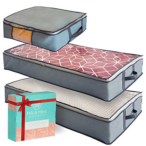 MIll & Mint Undercover Cubes 3 Under Bed Storage Bins, Underbed Storage Containers with Clear Windows and Reinforced Handles in Gift Box, Gray