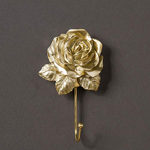 Vintage Rose Hook Wall Mounted Wall Decor Durable Handmade Resin Decorative Robe Hook Scarf Bag Towel Hat etc for Kitchen Bathroom Office Gold