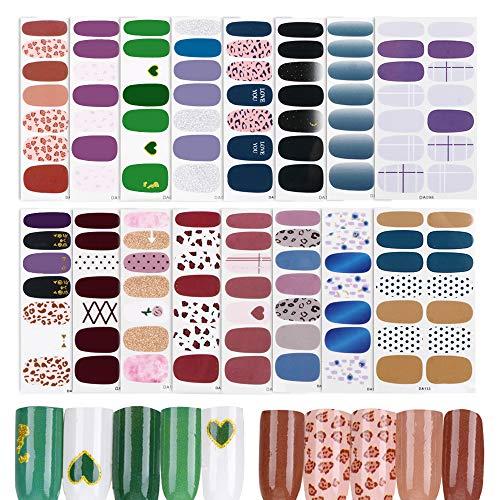 FLOFIA 16 Hojas Pegatinas Uñas Decorativas Adhesivas Nail Stickers Full Cover Etiqueta Adhesiva Uñas Cubierta Completa Calcomanías Etiqueta Engomada Uñas Autoadhesivas para Arte de Uñas DIY