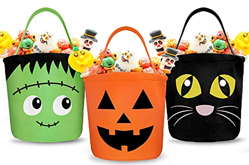 Whaline 3 Pack Halloween Trick or Treat Bucket Pumpkin Cat Monster Candy Basket Tote Bag with Handle portable Candy Holder Bag Goodie Bags for Kids Party Favor