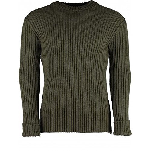 Welbeck Woolly Pully Sweater No Patches - Olive DRAB - Large