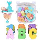 Organizador de juguetes de baño con 36 letras y números de espuma 2 bobinado de red de pesca de tortuga, bolsa de almacenamiento de agua para bebés...