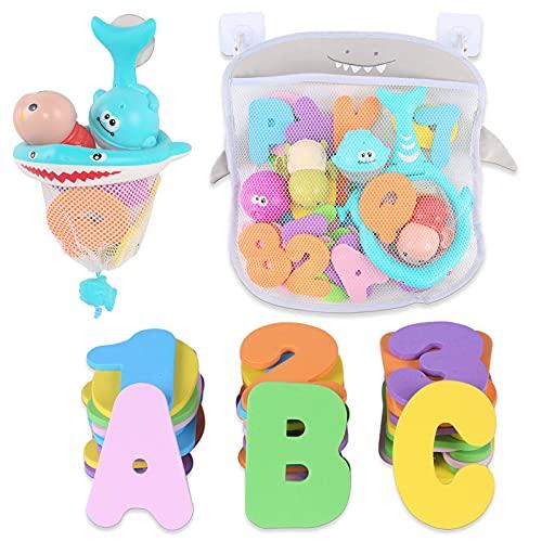 Organizador de juguetes de baño con 36 letras y números de espuma 2 bobinado de red de pesca de tortuga, bolsa de almacenamiento de agua para bebés bebés de 1 a 3 años