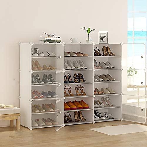 HHTX Gabinete de Zapatero Modular de 6 Niveles, 36 Pares de estantes de Almacenamiento de Zapatos Independientes apilables con estantes Ajustables y Puerta Transparente para Dormitorio, Color bla