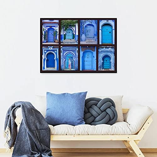 Danjiao Póster Nórdico, Lienzo De Estilo Azul, Moderno Edificio Vintage, Pintura De Puerta De Marruecos, Impresión Artística, Cuadro De Pared, Sala De Estar, Decoración Del Hogar Sala De Esta 60x90cm