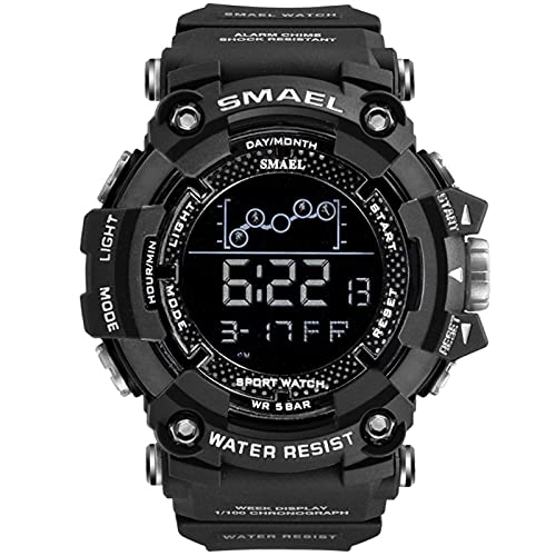 SMAEL Reloj Digital para Hombre - 50M Impermeable Deportivo Relojes con Alarma/Cuenta Regresiva/Cronómetro Cronógrafo para Hombre,Negro